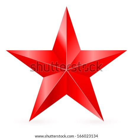 shiny five pointed red star