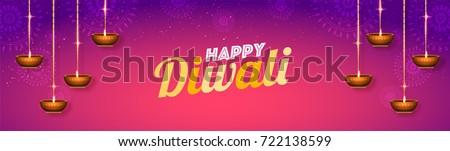 Shiny Floral Social media Header layout with hanging Oil Lamps (Diya) for Diwali celebration.