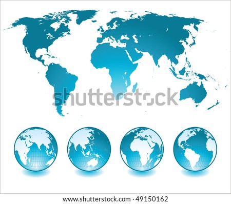shiny globes and world map - stock vector