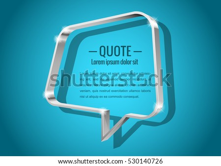 Shiny glossy of metal 3d banner. Abstract form, for messages or quotes. Vector illustration