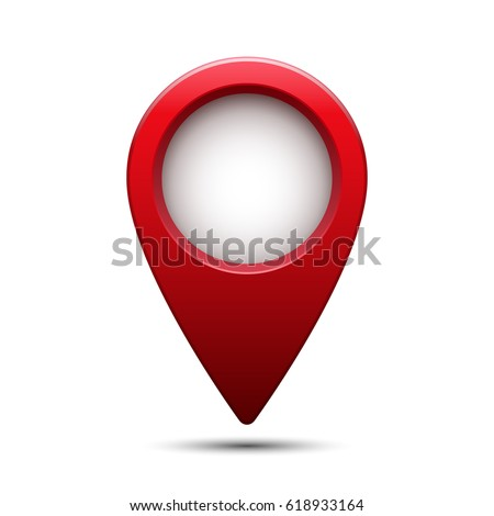 Shiny glossy red map pointer. Vector isolated illustration.
