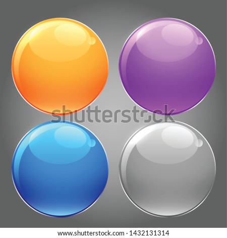 shiny glossy set of circular buttons
