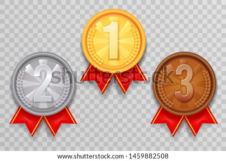 Shiny gold bronze silver winner leader award ceremony champion thirst second third place medal ribbon trophy icons set vector illustration