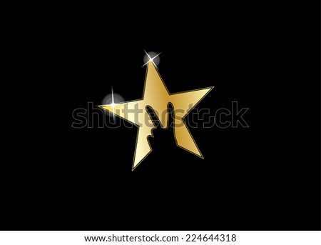 shiny gold colorful star with