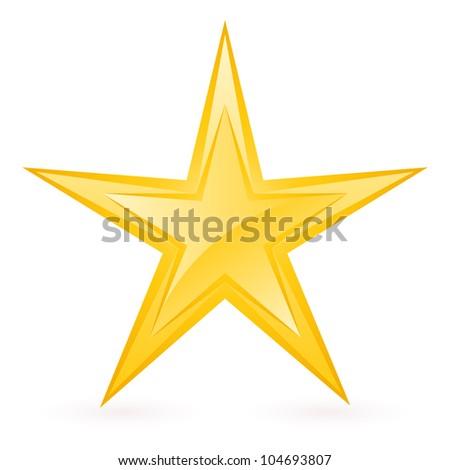 Shiny Gold Star. Form-eighth. Illustration for design on white background