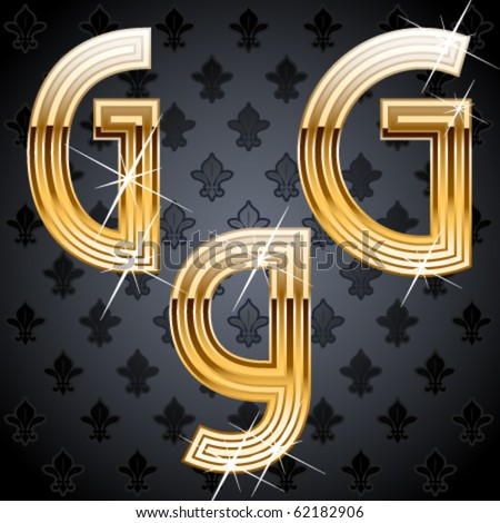 Shiny golden alphabet on a chic victorian background. Character g