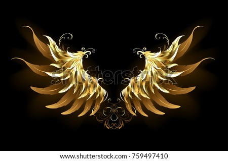 shiny  golden angel wings on