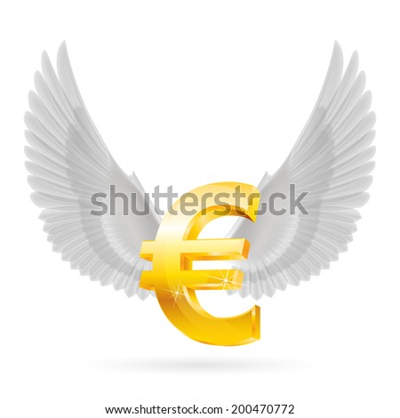 shiny golden euro symbol with