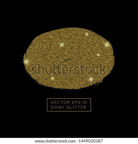 Shiny golden glitter vector background. Shiny sparkling star dust texture for luxury rich greeting card. Isolated   abstract oval Shape design element.