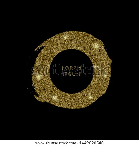 Shiny golden glitter vector background. Shiny sparkling star dust texture for luxury rich greeting card. Isolated   abstract circle Shape design element.