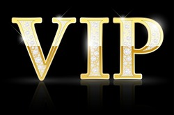 Shiny golden VIP sign with diamonds on black background - vector illustration