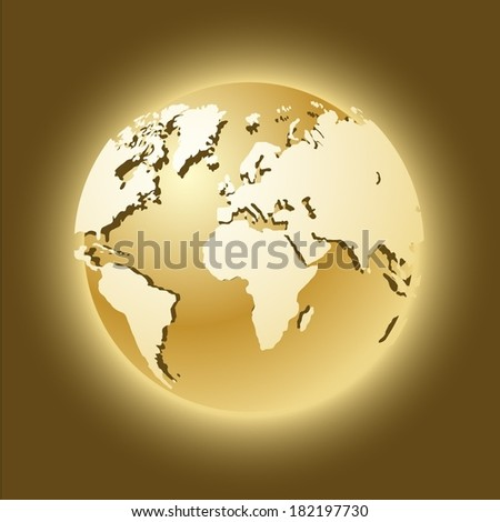 shiny golden world globe