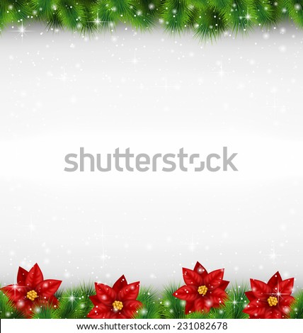 Shiny green pine branches like frame with flower of poinsettia in snowfall on grayscale background
