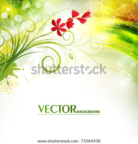 Shiny greeting card with flowers. Vector