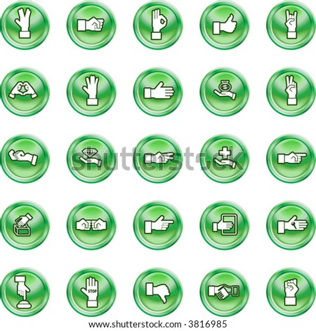 Shiny Hands Icon set A set of lots of shiny hand icons.
