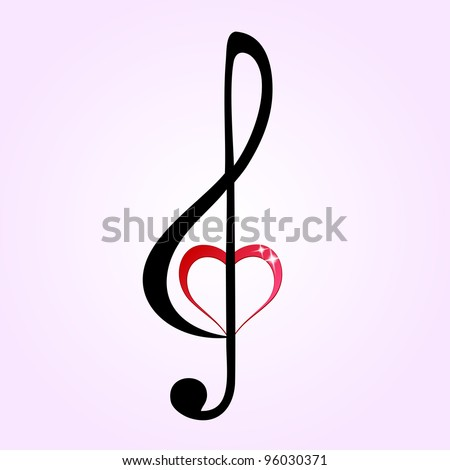 Shiny heart treble clef