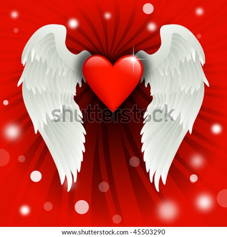 shiny heart with angel wings