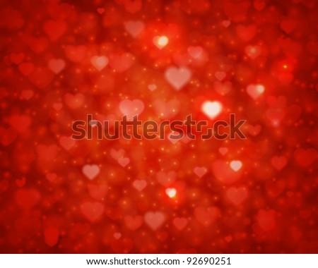 Shiny hearts bokeh light Valentine's day background eps 10