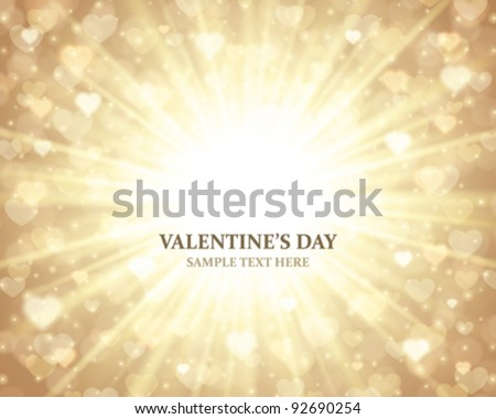 Shiny hearts bokeh light Valentine's day background eps 10 - stock vector