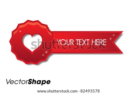 Shiny horizontal red heart badge with place for text, vector illustration