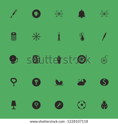 shiny icon. shiny vector icons set fountain pen, necklace, wrench and ladybug