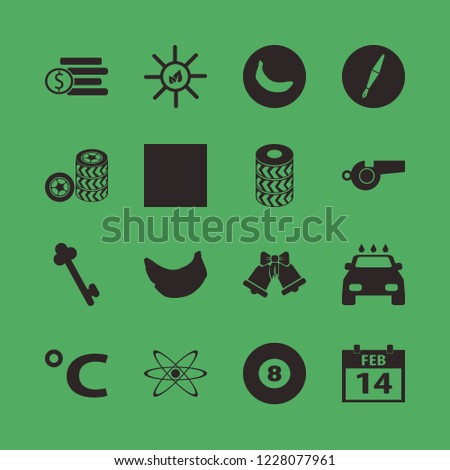 shiny icon. shiny vector icons set sleigh bells, dollar coins, car wheels and celsius sign
