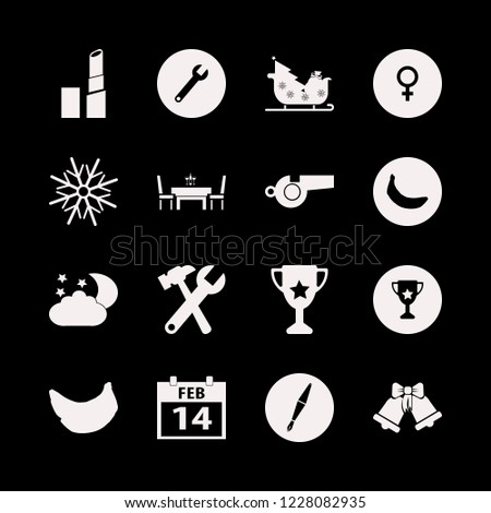 shiny icon. shiny vector icons set sleigh with christmas tree gifts, dining table restaurant, night and sleigh bells