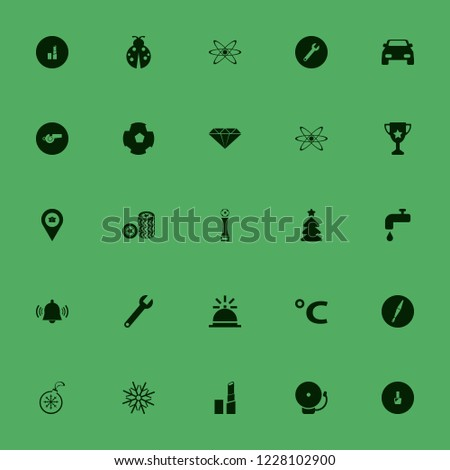 shiny icon. shiny vector icons set whistle, christmas tree, football cup and wrench