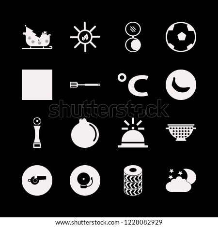 shiny icon. shiny vector icons set whistle, sleigh with christmas tree gifts, football cup and sun