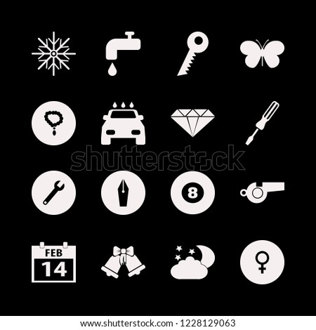 shiny icon. shiny vector icons set whistle, wrench, billiard ball and water tap