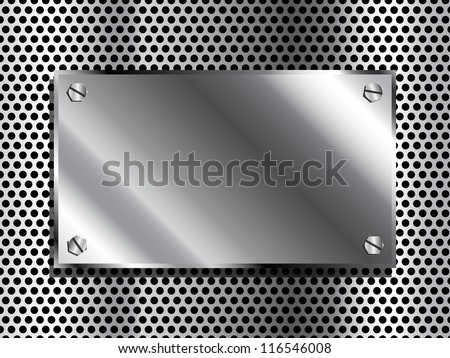 Shiny industrial looking metal plaque on grill background