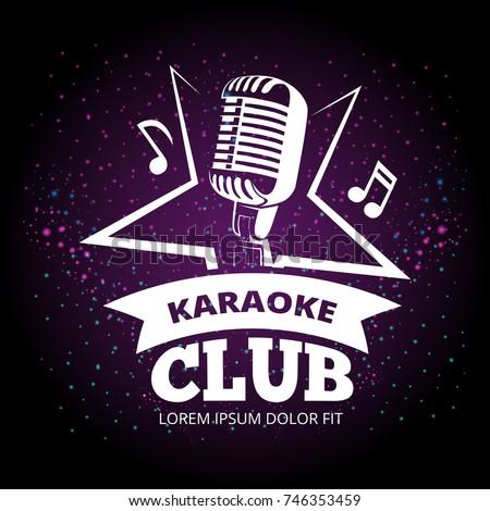 shiny karaoke club vector label