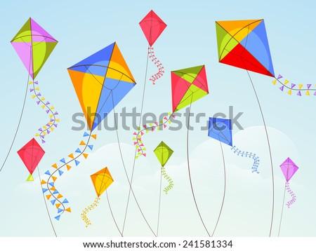 Shiny kites flying on occasion of Happy Vasant Panchami celebration. ストックフォト ©