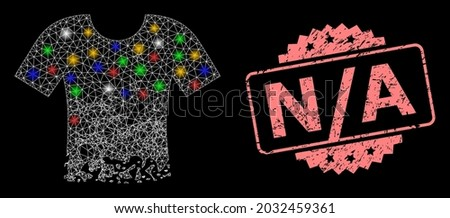 Shiny mesh network ragged t-shirt with glowing spots, and N - A textured rosette stamp seal. Illuminated vector mesh created from ragged t-shirt icon. Pink stamp seal has N - A caption inside rosette. Stock fotó ©