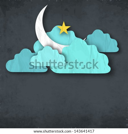 Shiny moon with golden star in clouds concept for Muslim community festival Eid Mubarak.