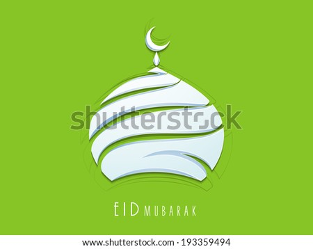 Shiny mosque in blue color on green background for celebrations of Muslim community festival Eid Mubarak Beautiful greeting card or invitation card design