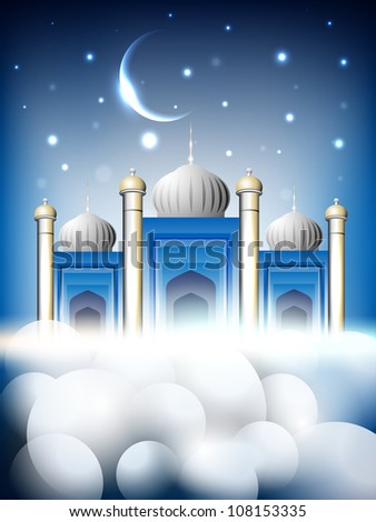 Shiny Mosque or Masjid on beautiful shiny blue background with moon EPS 10.