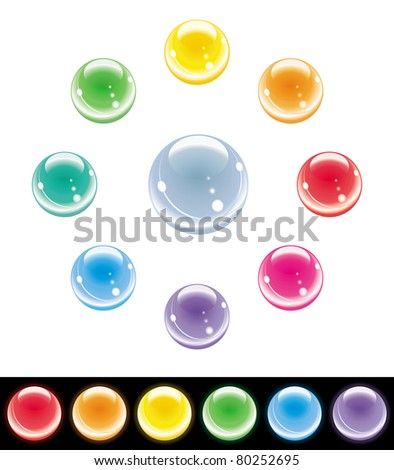 Shiny multi colored spheres set.