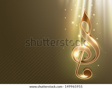 Shiny musical note on abstract green background.