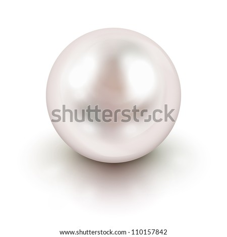 Shiny natural white pearl with light effects ストックフォト ©