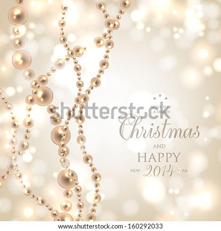 Shiny pearls frame on background - vector illustration.