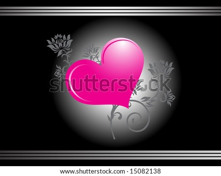 pink hearts wallpaper. shiny pink heart on floral
