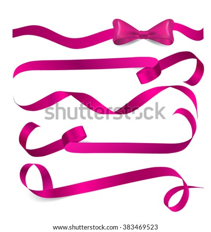 shiny pink ribbon on white
