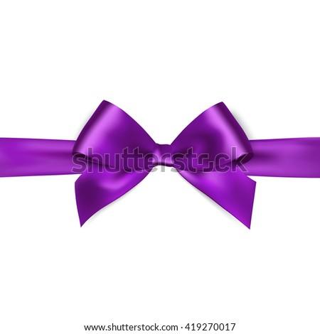 Shiny purple satin ribbon on white background. Vector purple bow. Purple bow and purple ribbon.