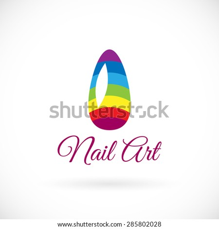 shiny rainbow logo nail vector