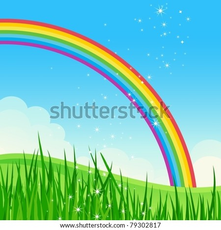 Shiny rainbow meadow landscape. Vector illustration.