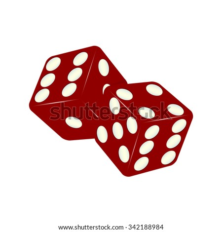 shiny red dices on the white