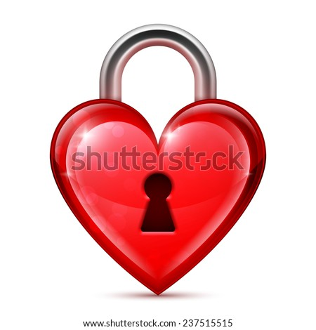 shiny red heart lock on white