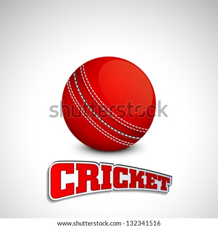 Shiny red leather ball with text cricket on grey background.