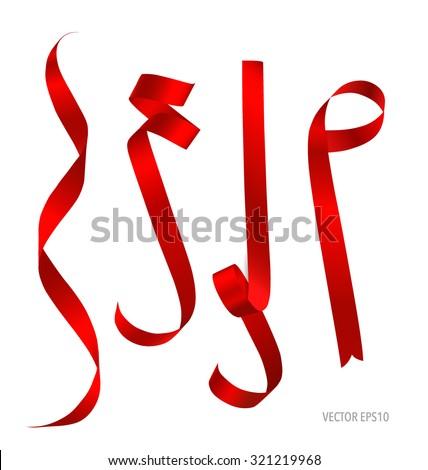 shiny red ribbon on white